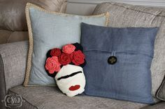 Frida Kahlo Pillow - free crochet and sewing patterns on Colorful Christine