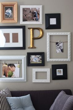 Minus the clothes pinned pictures, this is what I'm going for with silver, black, white and gold on my grey bedroom walls.