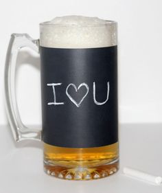 Beer mug with a special #ValentinesDay message to him written in chalk