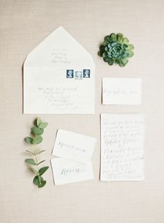 Calligraphy: Judy Broad - Beach Wedding Inspiration in a soft, muted palette by Holly Phillips (Stylist) + Sarah Hannam (Photography) - via Magnolia Rouge