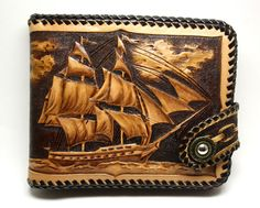 Hand-tooled leather wallet leather men's wallet by PFLeatherGlass