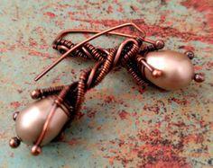 Petite Twig Earrings Door 44 Original Copper Wire by Copper Earrings, Pearl Earrings, Pearl Jewelry, Wire Jewelry, Swarovski Pearls, Fall Wardrobe, I Am Awesome, Cream, The Originals