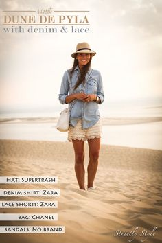 http://www.olivialehti.fi/strictly-style/ denim blouse lace shorts hat outfit dune de pyla arcachon