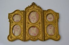 1900's French Gilt Bronze Trifold Thryptic 6 Windows Picture Frame