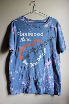 Splatter Bleached and Shredded Fleetwood Mac T Shirt Large