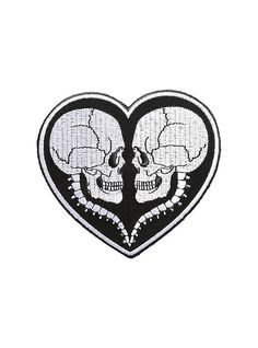 Till death do us part. This embroidered heart-shaped patch features a dual skull design in stark black & white. Perfect for those who love things to death. Pin And Patches, Iron On Patches, Hat Patches, Gomez And Morticia, My Buddy, Till Death, Skull Design, Aesthetic Grunge, Skull And Bones
