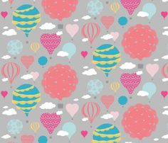 Doily Balloons (multi color) fabric by sarahcatherinedesignsinc on Spoonflower - custom fabric