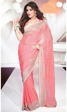 Alluring Rose Pink Embroidered Saree #Designer-Sarees #Bollywood-Fashion-Saree