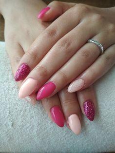 salmon gel, pink gel and pink glitter