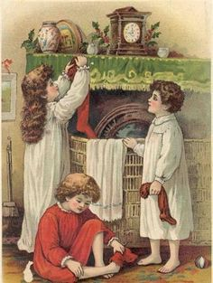 """Lithograph from 1901 Edition ofof the book, """"A Visit From St. Nicholas"""""""