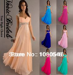 Hot Sale In Stock V004 Peach Long Chiffon Pleat Beaded Crystals Cap Sleeve Evening Dress 2014