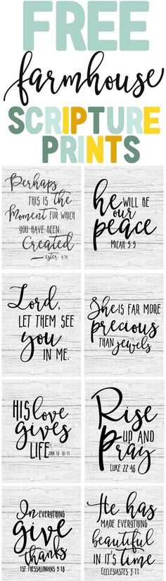 Free Farmhouse Scripture Printables - Th. - Free Farmhouse Scripture Prints-Bible verse printable art-farmhouse decor ideas-www. Printable Bible Verses, Scripture Art, Printable Art, Free Printables, Printable Lables, Bible Art, Photoshop, Do It Yourself Inspiration, Print Calendar