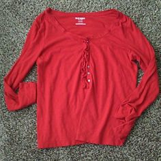 Old Navy Shirt Good condition. Red button up. Size XL Old Navy Tops Tees - Long Sleeve