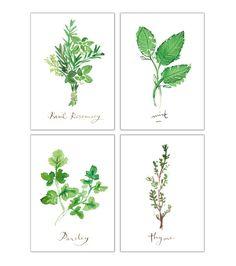 Set of four herb prints, 5X7, Kitchen decor, Food poster, Watercolor herb painting, Kitchen print, Kitchen art, Herb print, Green wall decor