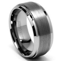 9mm High Polish Matte Finish Mens Tungsten Ring Wedding Band Sizes 6 To 15