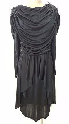 Fluid Draped Peplum Dress Size Medium Black by JadeDesignVintage