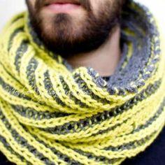 Мужской снуд в технике бриошь - Модное вязание