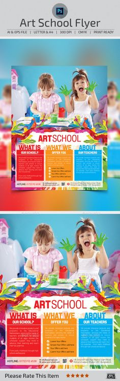 Art School Flyer Template — Photoshop PSD #art #system • Available here → https://graphicriver.net/item/art-school-flyer-template/10706910?ref=pxcr