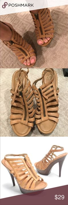 Jessica Simpson pumps Soze 8 • worn twice • like new! • jessica simpson tan pumps • a couple scuffs on the wood, but if you scroll to last photo you can see how new they look in perfect condition! Jessica Simpson Shoes Heels