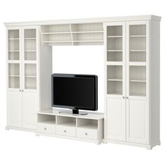 IKEA - LIATORP, TV storage combination, , Cornice and plinth rail help create a uniform expression when two or more units are connected…