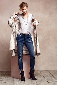 The tee, sweater, boots, necklace and the Closed Destroyed Marlow Skinny Jeans - anthropologie.com