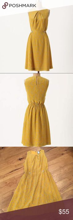 """Anthropologie Girls from Savoy """"Take Action"""" Dress Excellent condition! Worn once. Sleeveless, fitted through waist with elastic and false button detail to cinch in waist. Slight A-line, loose through hips. Mustard yellow with pretty grey details. Keyhole neck closure in back. Fully lined. Reasonable offers please. Anthropologie Dresses"""