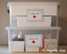 Organized first aid and medicine- I seriously need to do this. Our linen closet is a mess!!!