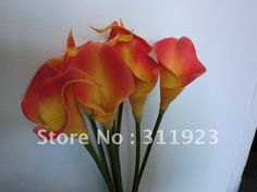 Real and soft touch flame orange mini artificial calla lily flowers, great deco for wedding hall decoration and other themes on AliExpress.com. $96.00/100