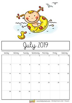 July 2019 printable calendar - girl with a rubber ring and a rubber duck swimming; doesn't it want to make you get your feet wet too!