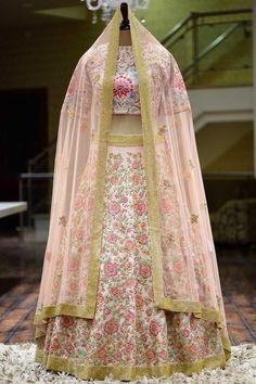 Carnation Pink Resham Embroidered silk Bridal Lehenga - All About Gold Lehenga, Raw Silk Lehenga, Lehenga Skirt, Lehenga Style, Anarkali, Lehenga Blouse, Floral Lehenga, Lengha Choli, Lehnga Dress
