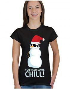 Christmas: You Need Some Chill at www.firetrend.co.uk #christmas #snowman #santa #xmas #firetrend #christmastshirt Mens Christmas T Shirts, Christmas Jumpers, Christmas Snowman, Xmas, Jumper Designs, College Fashion, Neck T Shirt, Chill, Santa