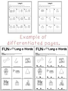 Long Vowel Worksheets Teachers Pay Teachers  Courtney's Creations and Clips