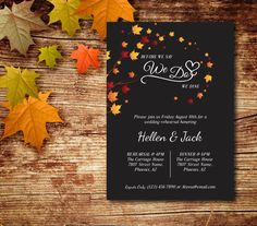 A personal favorite from my Etsy shop https://www.etsy.com/ca/listing/471278987/fall-leaves-rehearsal-dinner-invitation