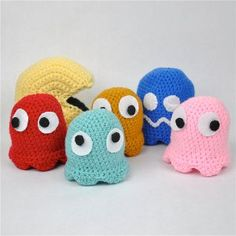 Cute Crocheted Pac Man and Ghosts | AllFreeCrochet.com