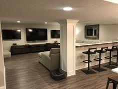 Home Remodeling Plans basement remodel gray Basement Living Rooms, Man Cave Basement, Basement House, Basement Apartment, Basement Walls, Basement Flooring, Basement Waterproofing, Laminate Flooring, Rec Rooms
