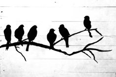 Black Birds on a Branch Black and White Pallet Art Sign on Etsy, $40.00