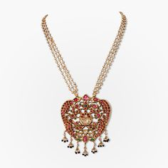 A table cut diamond, emerald and ruby pendant with two pairs of peacocks symbolising love and fertility. From the in the South Indian tradition India Jewelry, Temple Jewellery, Gold Jewelry, Diamond Jewellery, Trendy Jewelry, Simple Jewelry, Ethnic Jewelry, Gold Bangles, Jewelry Box