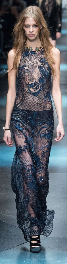 ROBERTO CAVALLI FW 2015 sheer embellished navy midnight blue metallic gown runway model // Pinned by Dauphine Magazine x Castlefield - Curated by Castlefield Bridal & Branding Atelier and delivering the ultimate experience for the haute couture connoisseur! Visit www.dauphinemagazine.com, @dauphinemagazine on Instagram, and @dauphinemag on Pinterest • Visit Castlefield: www.castlefield.co and @ castlefieldco on Instagram / Luxury, fashion, weddings, bridal style, décor, travel, art, design