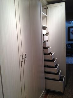 White Chocolate Truffle Wardrobe, Pull Out Shelves and Trays