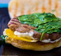 Breakfast Sandwich   http://kblog.lunchboxbunch.com/2010/06/breakfast-sandwich-vegan-recipe-in-15.html