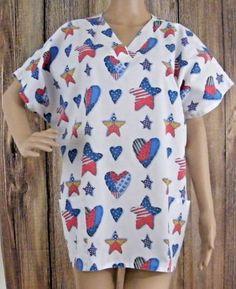 Patriotic-Scrub-Top-Nursing-Uniform-Stars-Stripes-Simply-Basic-Fits-Like-3XL