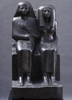 This noble couple are mother and son, but are represented as equally young and vigorous. The statue group does not represent their actual appearance, but shows them as they wished to be in the kingdom of the gods after their death. The refined, elegant style dates the work to the around 1450 BC.