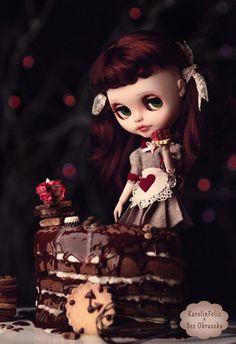 custom blythe doll by Karolin Felix, chocolate mascarpone cake by Bez Okruszka