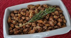 Parmesan and Rosemary Almonds            Let me warn you, these are addictive. I first made these while catering for a big event during the Sundance Film Festival. It was late night, crowded and people were hungry. We passed multiple appetizers but It was so packed that it was hard to get to everyone. I'm glad I had the foresight to make a