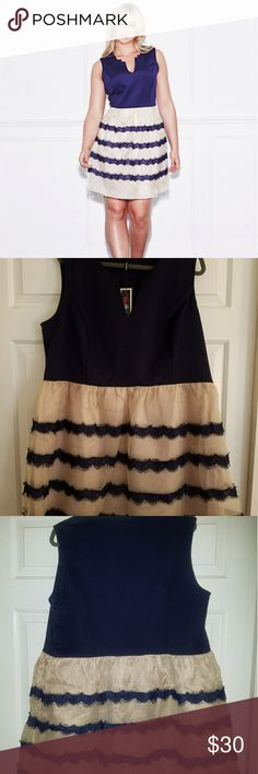 Lovedrobe by simplybe Skater Dress Navy/nude scuba top with organza skirt and navy eyelash lace detail on skirt. Never worn. Would be great for special occasions such as prom or junior prom! Simply Be Dresses Mini