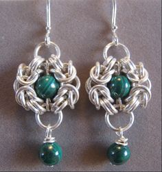 Sterling Silver and Genuine Malachite Maiden Faire Earrings... But I want them in black :)
