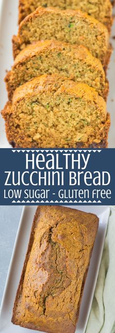 Eating Bread This Healthy Zucchini Bread Recipe is perfect for a simple snack or nutritious breakfast. Low in sugar, gluten free & so delicious - everyone will love it! A great healthy way to use up summer zucchini! Sugar Free Zucchini Bread, Gluten Free Zucchini Recipes, Zucchini Bread Muffins, Zucchini Desserts, Healthy Bread Recipes, Banana Zucchini Bread Healthy, Zucchini Casserole, Pan Sin Gluten, Sans Gluten