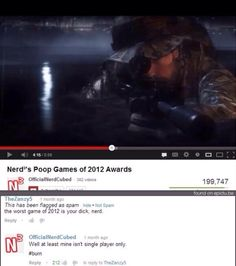 Poop Games of 2012 Awards Funny Youtube Comments, Funny Sites, Single Player, I Laughed, Funny Pictures, At Least, Nerd, Lol, Entertaining