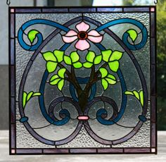 French Dogwood Stained Glass Panel  Custom by TAINTEDTOAD on Etsy, $535.00