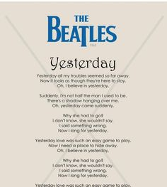 Yesterday Print - The Beatles - Beatles Lyrics - From the singles collection - Beatles Gift - Beatle